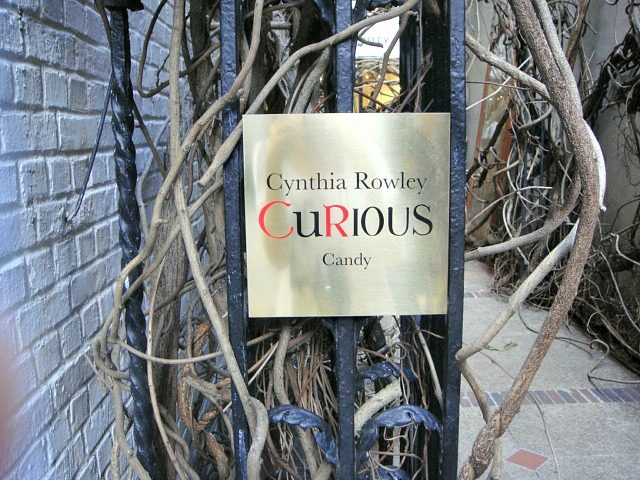 Gold sign out front for Cynthia Rowley's CuRious candy shop | York Avenue blog