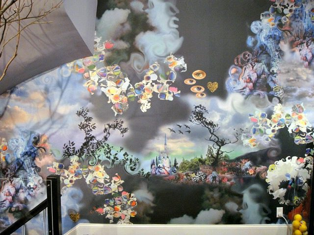A colorful, whimsical wall mural in Cynthia Rowley's CuRious candy shop | York Avenue blog