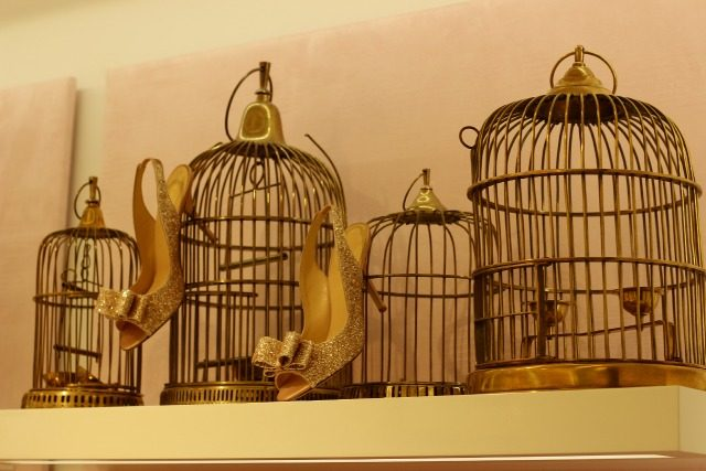 Gold birdcages with gold glitter heels at KSNY | York Avenue