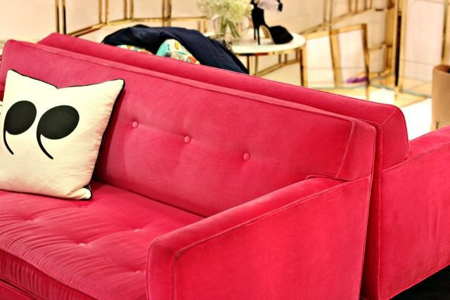 Pink velvet couches at Kate Spade | York Avenue