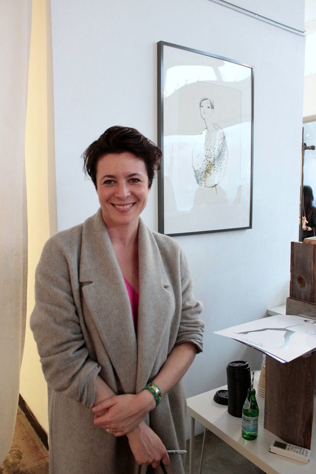 Garance Dore at her pop-up shop for her collaboration with Rifle Paper Co.