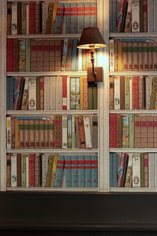 Gorgeous library wallpaper at Tipsy Parson in New York City