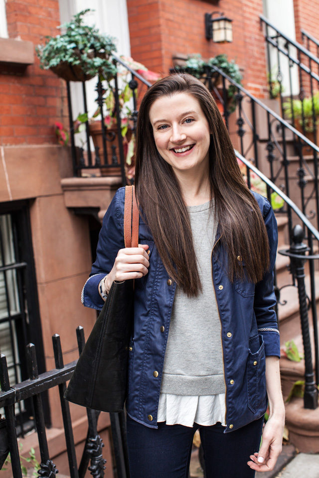 Clu Too Ruffled sweatshirt with Madewell Transport Tote and J. Crew Field Jacket