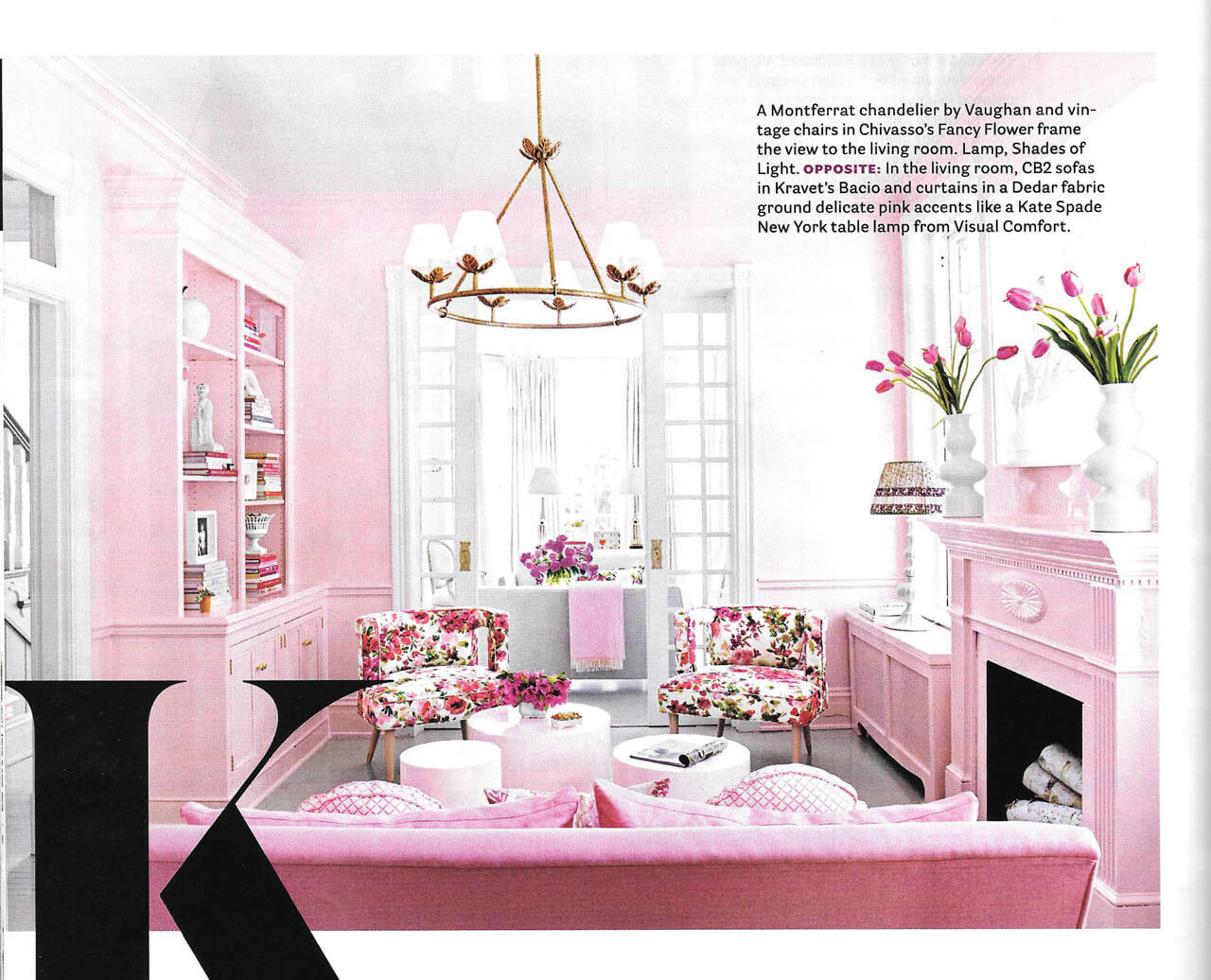 Suellen Gregory designs a stunning pink sitting room for the House Beautiful September 2016 issue // York Avenue blog