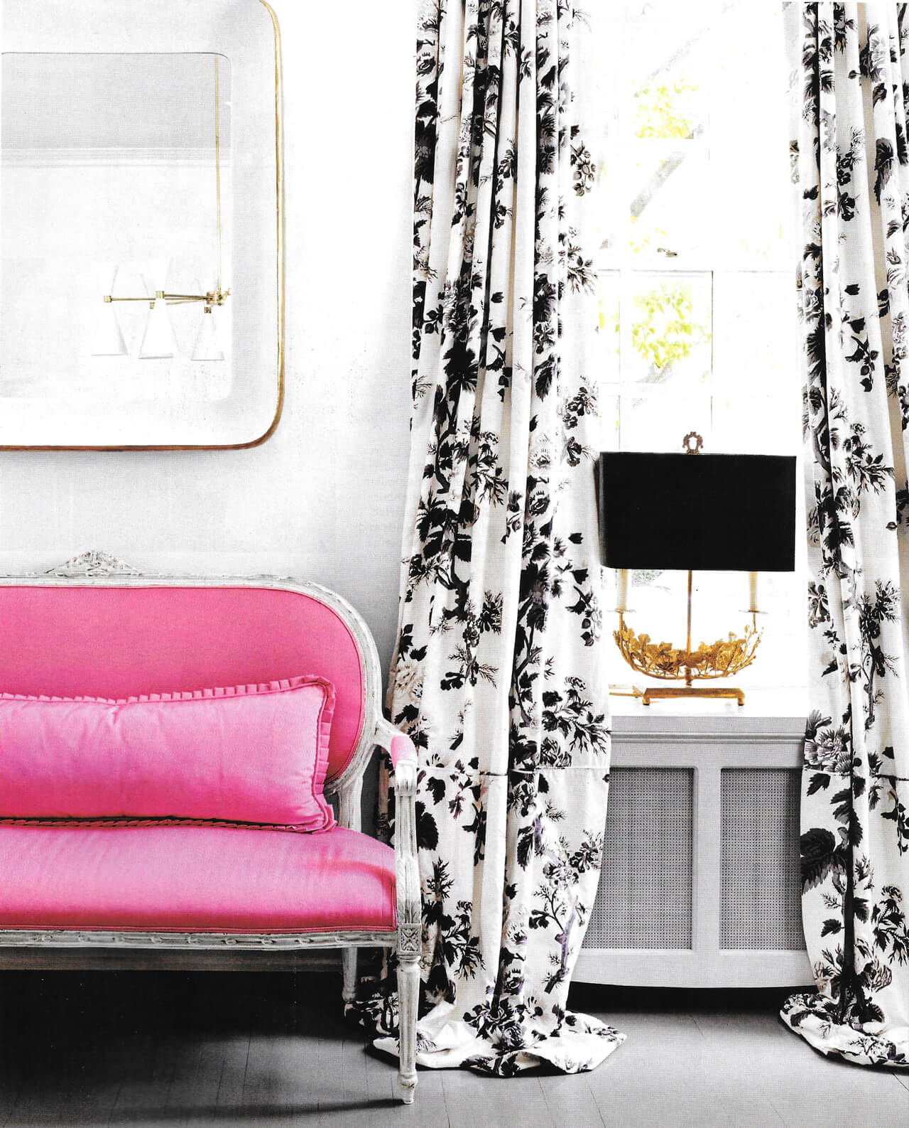 Pyne Hollyhock curtains in an apartment designed by Suellen Gregory for the House Beautiful September 2016 issue.