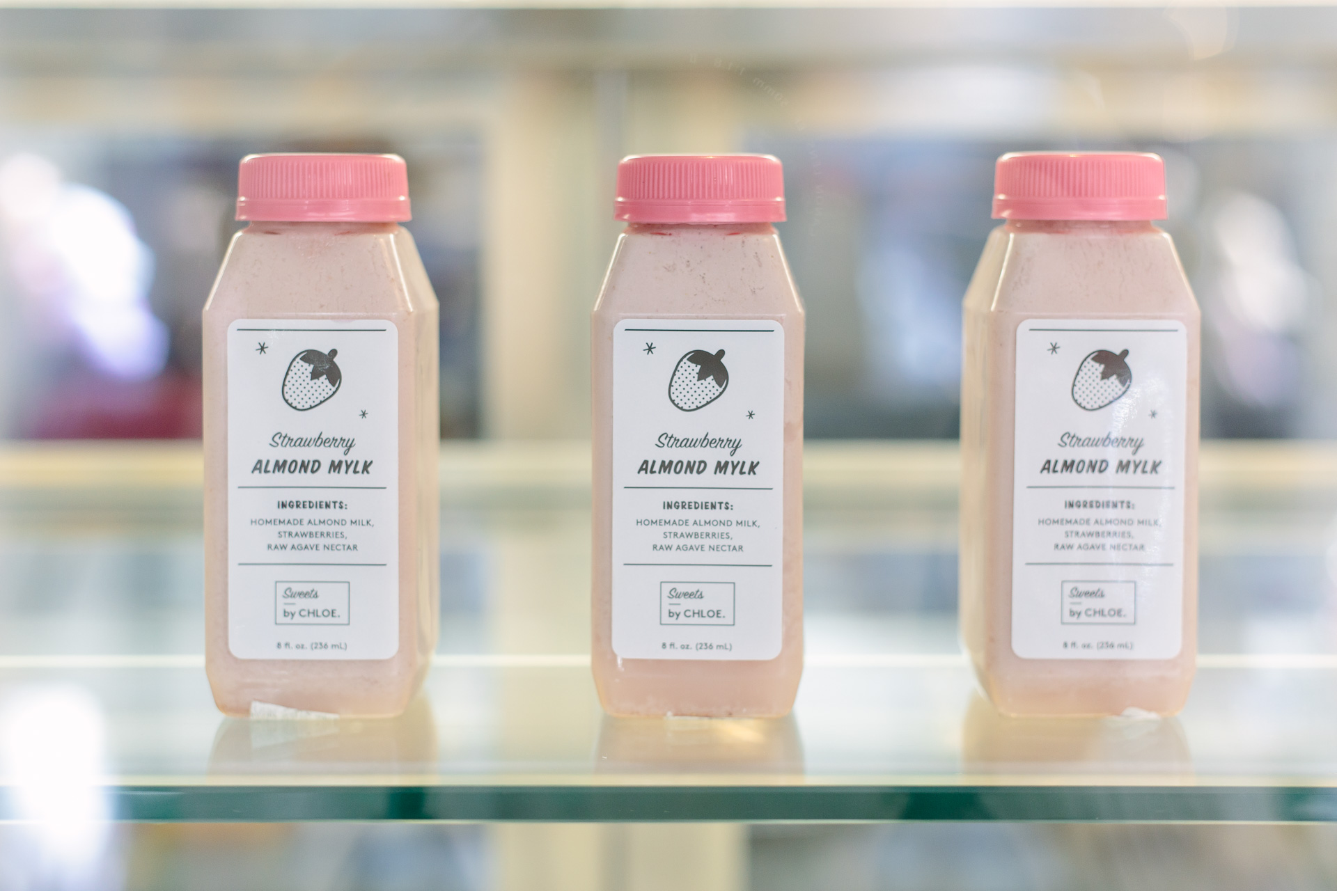 Strawberry almond mylk at Sweets by Chloe in NYC