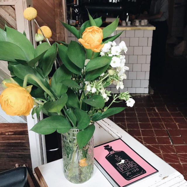 A pretty floral arrangement from brunch at tinysnyc tribeca brunch