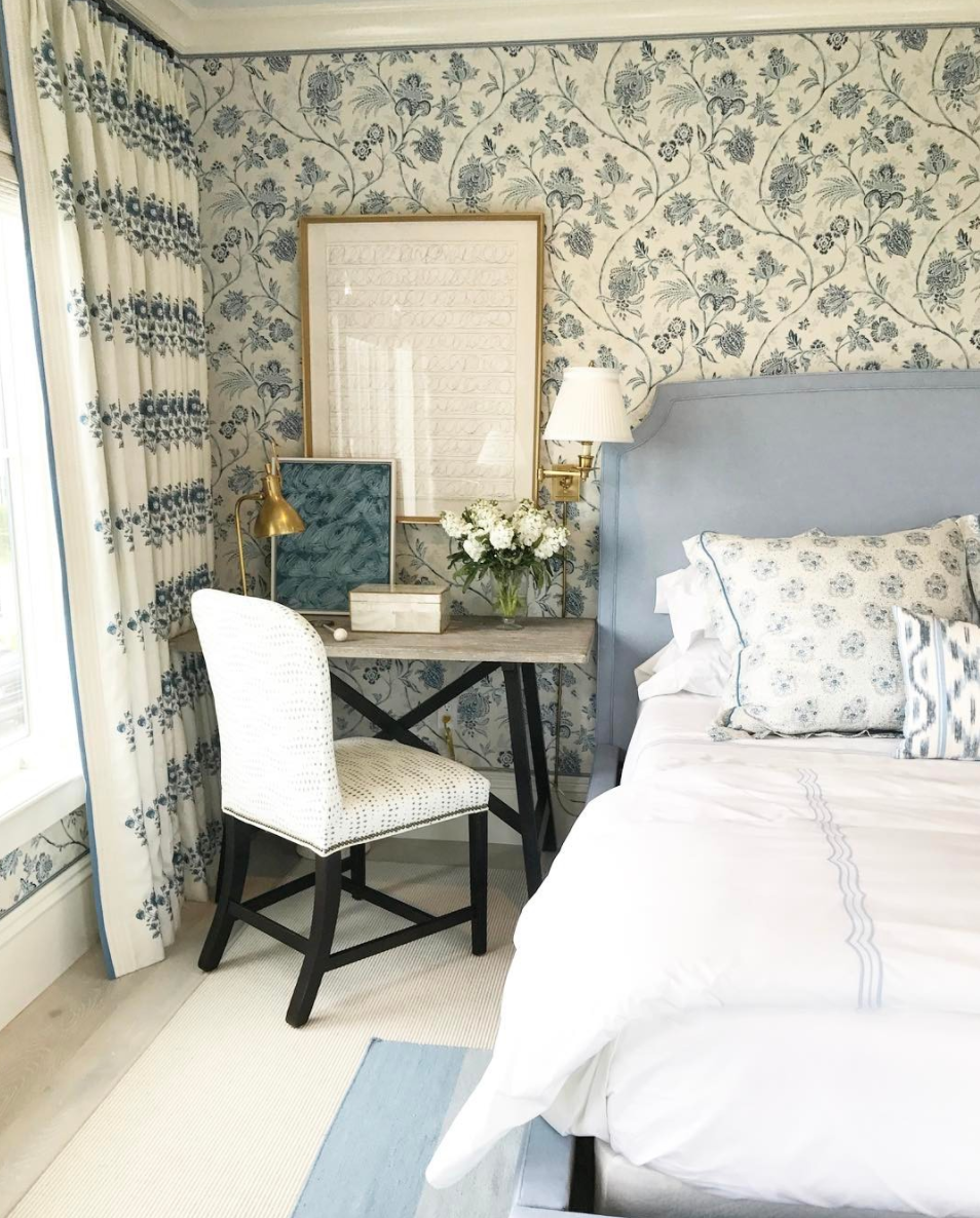 Mark Appears To Have Used His Signature Blue Stripes Liberally, As Well As  Tons More Shades Of Blue And Gorgeous Pattern Mixing In The Bedroom.