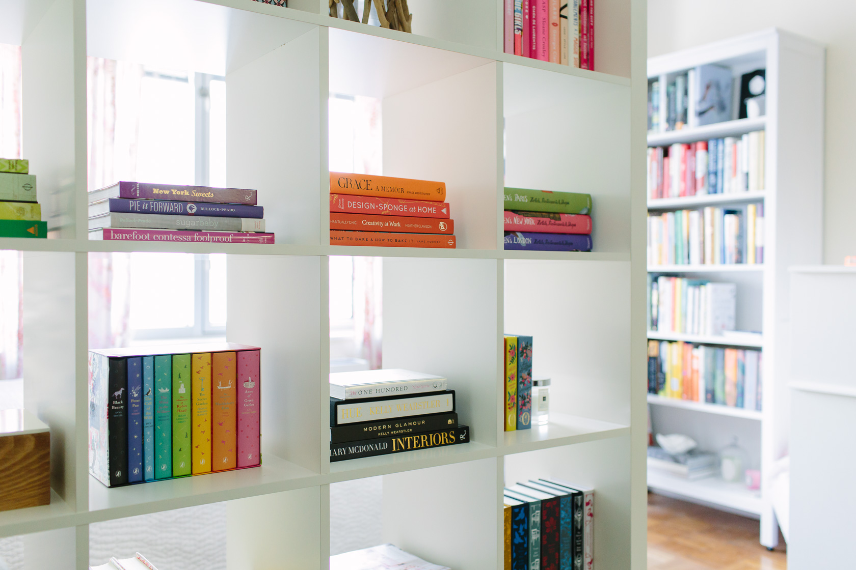 NYC studio apartment home tour featured by top US interior design York Avenue: bookcase