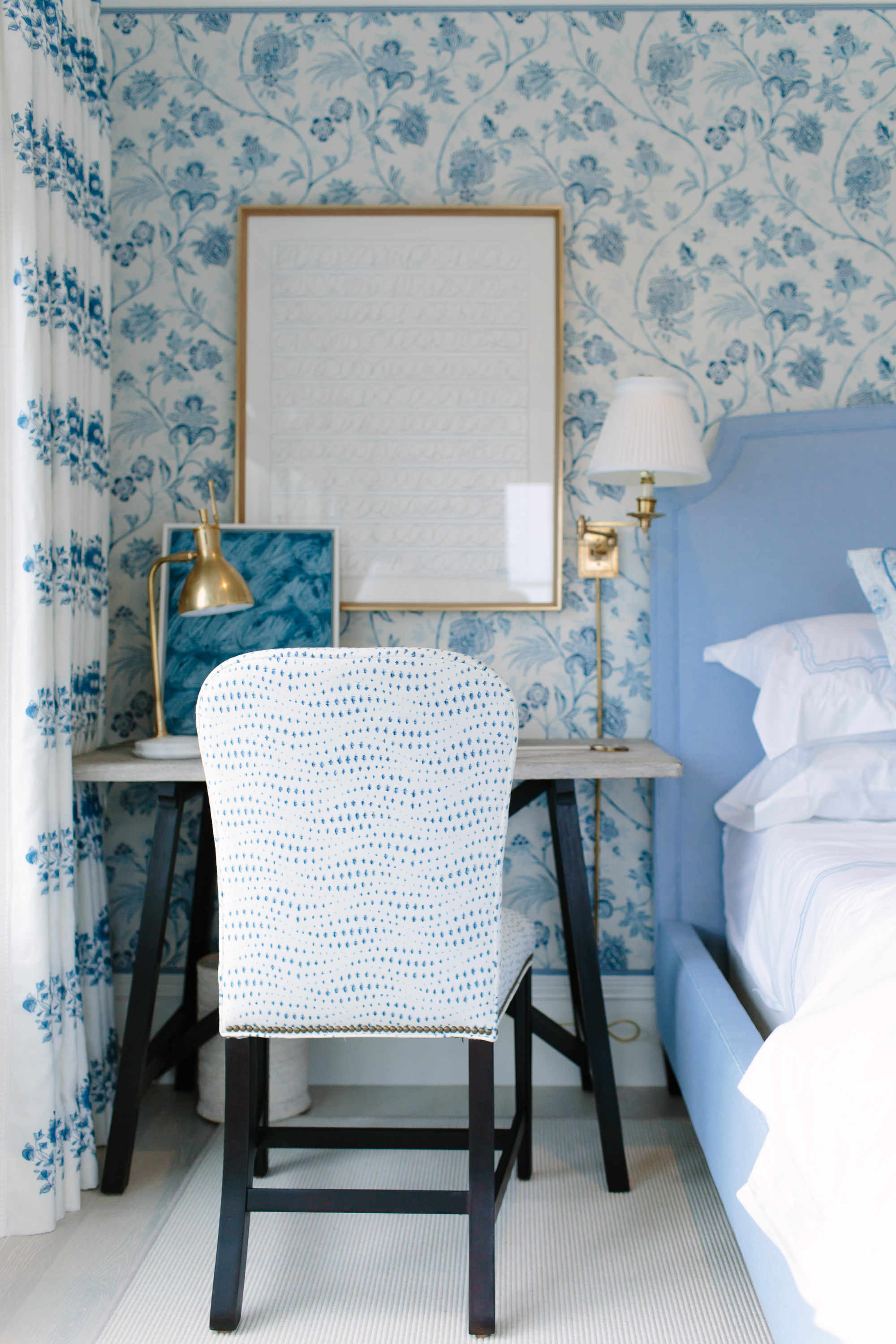 This Bedroom Was A Favorite. The Walls Are Actually Covered In Fabric,  Lending A Rich Texture For The Backdrop, And I Love The Shade Of Blue That  He Chose ...