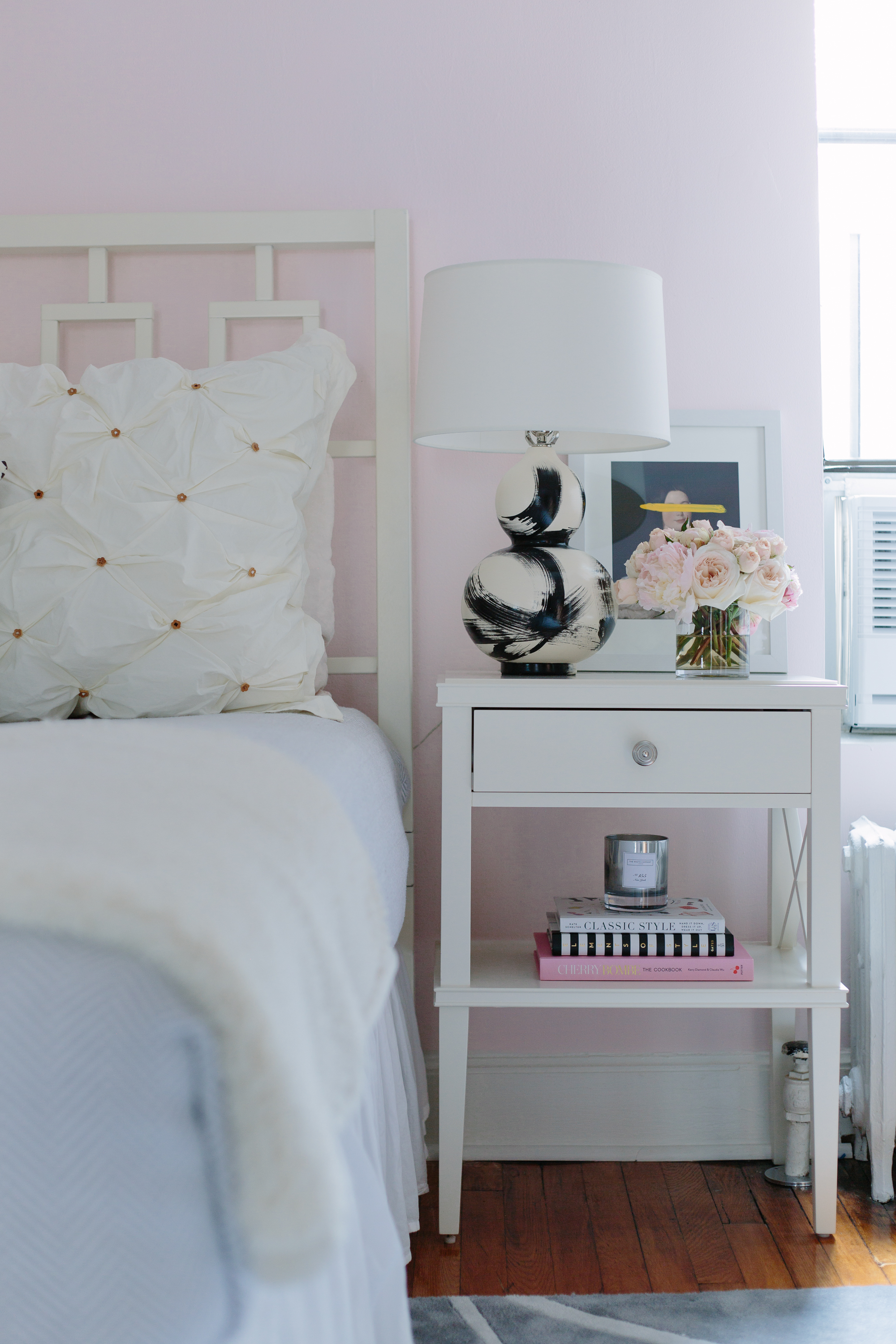 pottery barn clara nightstand in a bedroom painted farrow and ball middleton pink