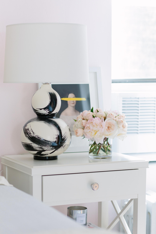 Jana Bek brushstroke lamp black on Pottery Barn nightstand