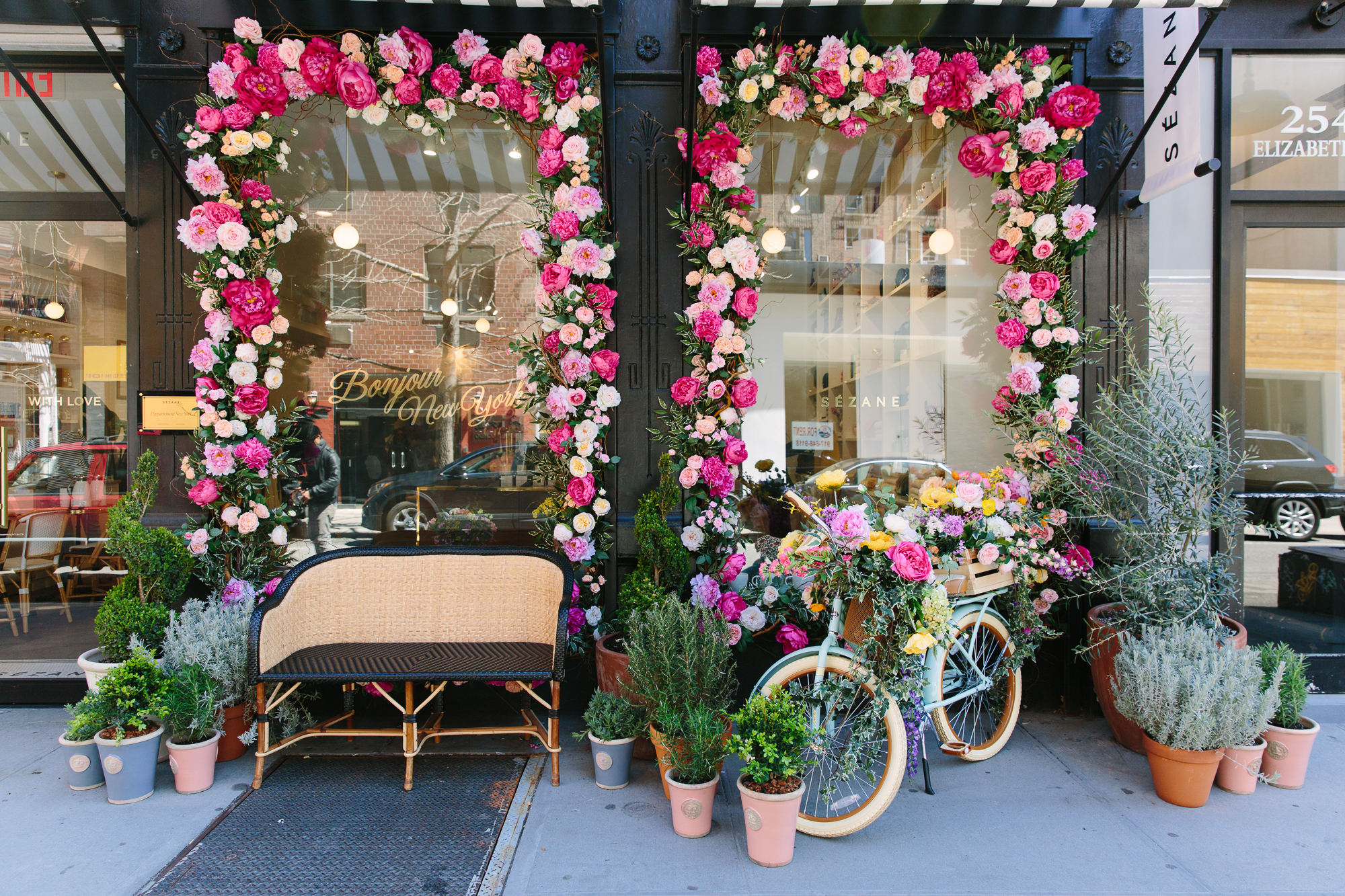 Sezane New York City spring Floratorium storefront