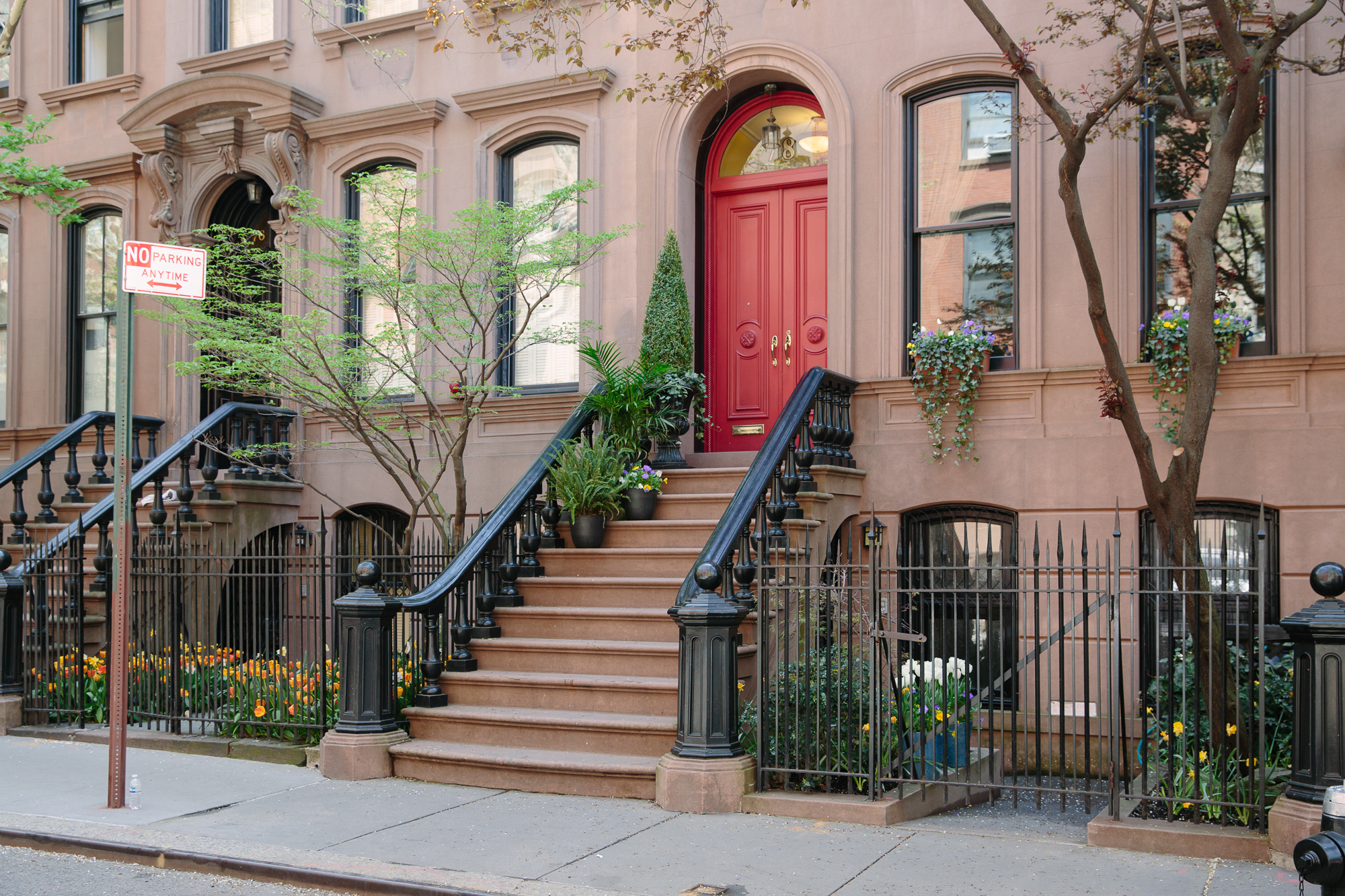 West Village townhouse red door spring