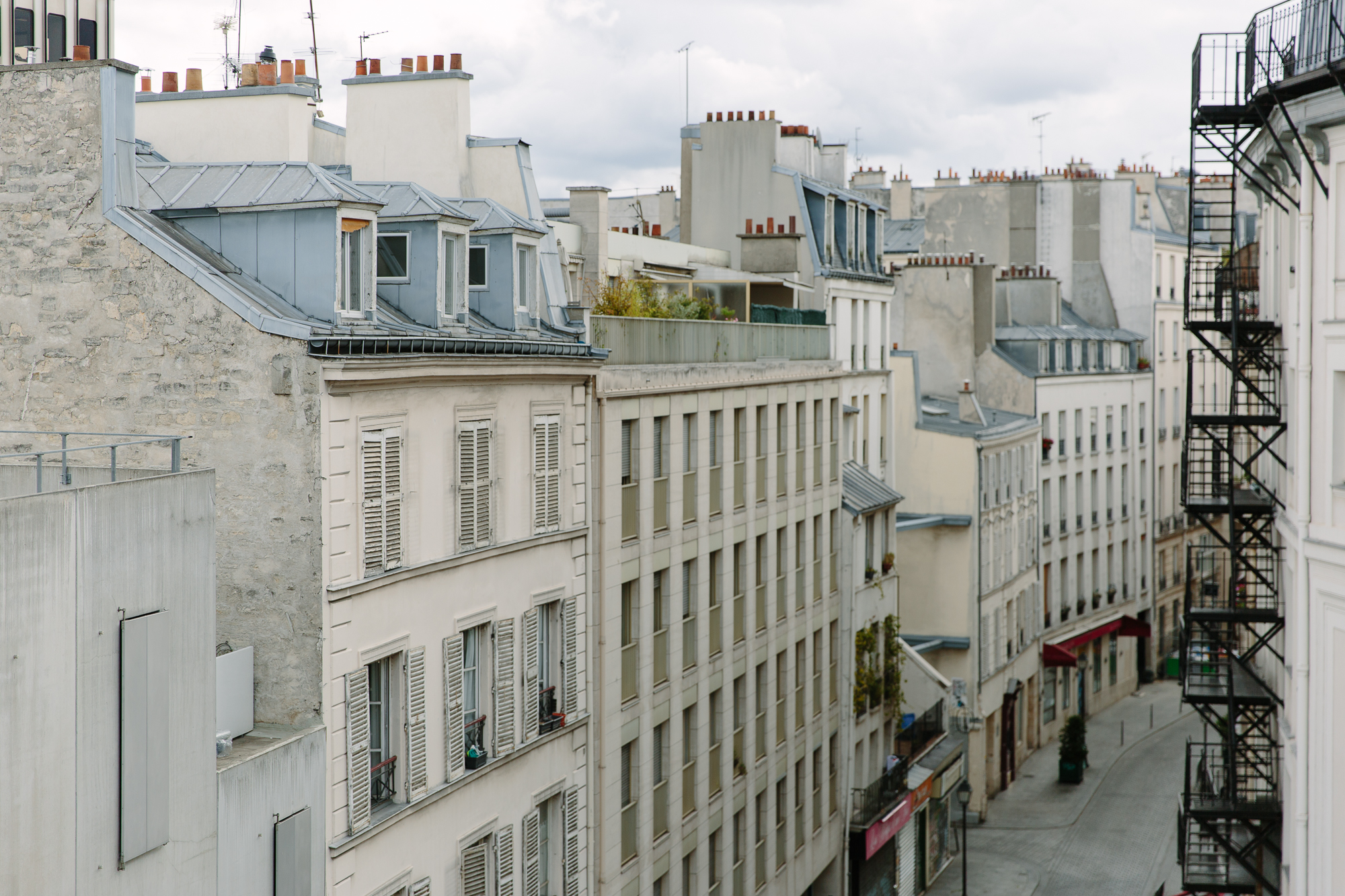 Paris rooftop seen from balcony at Hotel Providence Paris
