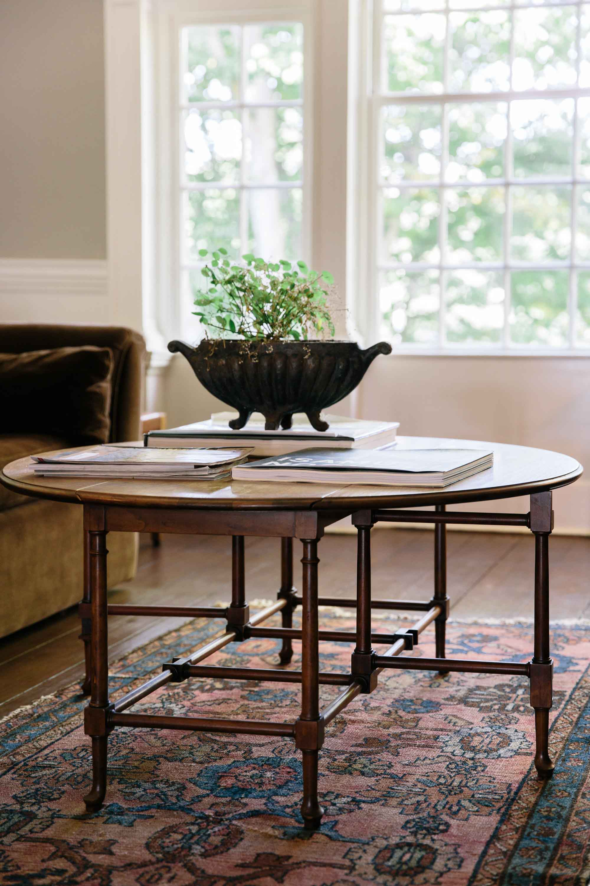 Antique table and Oriental rug