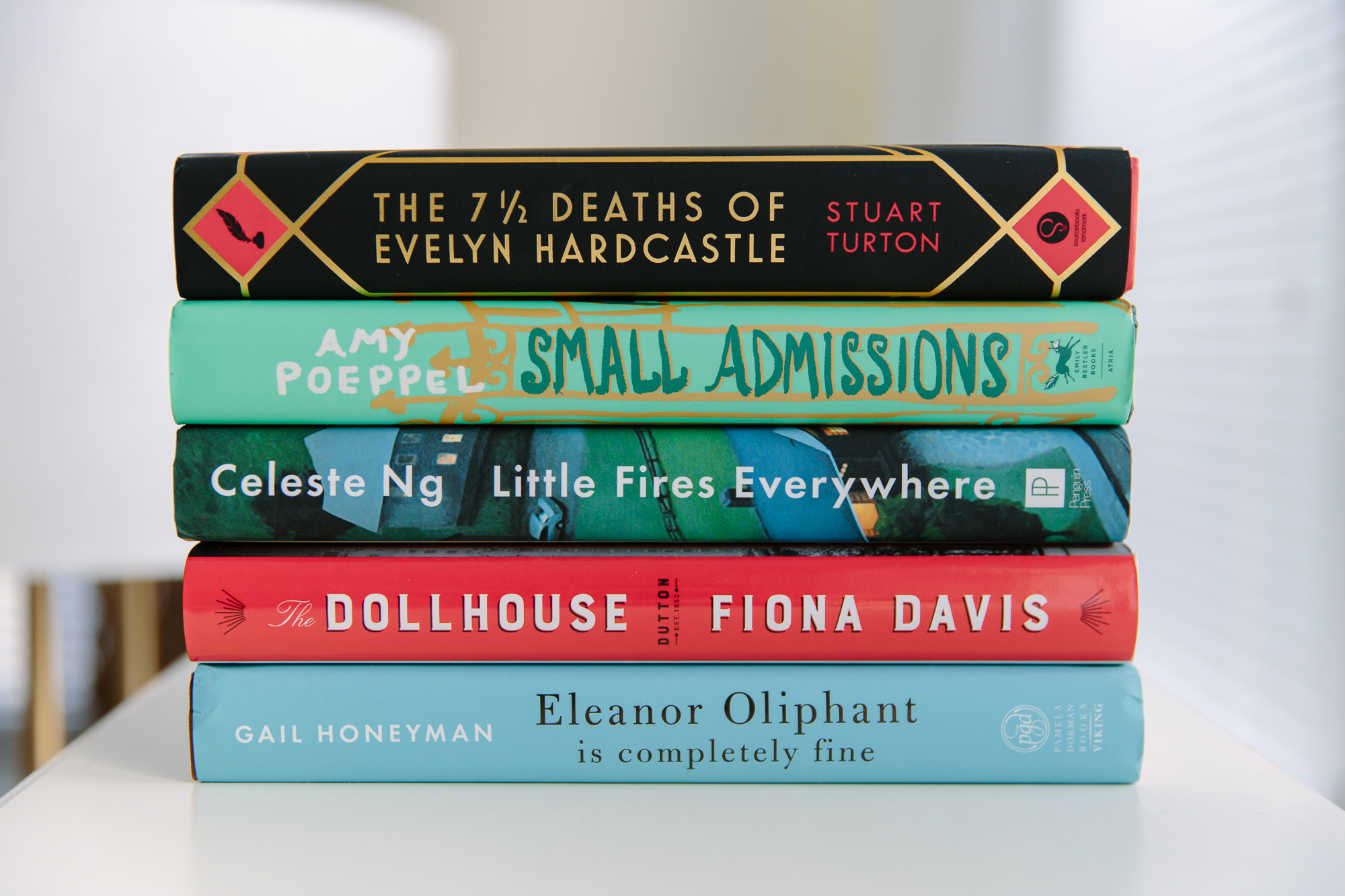 stack of books the 7 1/2 deaths of evelyn hardcastle, the dollhouse, little fires everywhere