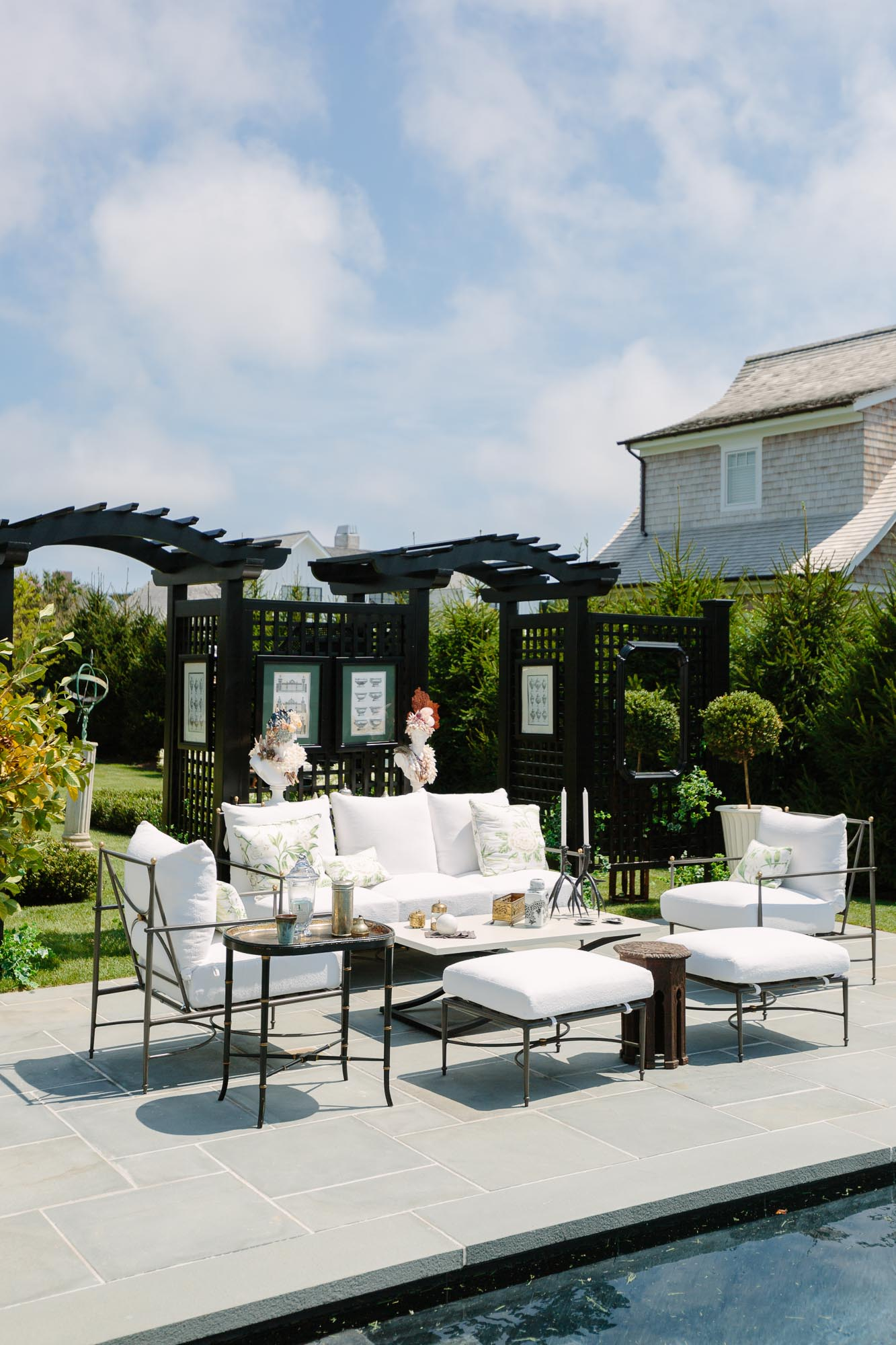 2019 Hampton Designer Showhouse featured by top US style blog, York Avenue: image of Brittany Bromley outdoor pool space at the 2019 Hampton Designer Showhouse